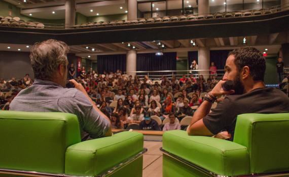 21.05.15: No dia 21 de maio no auditório do prédio 40 da PUCRS André Fran e Felipe Ufo palestraram para os alunos da FAMECOS. FOTO: Natalia Pegorer / FAMECOS/ PUCRS